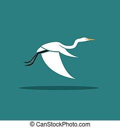 Vector of Heron or egret design (Ciconiiformes, Ardeidae) flying on blue background. Bird, Animals.