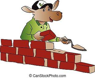 Vector of hippopotamus building a brick wall.