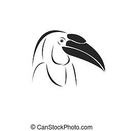 Vector of hornbill Black design. Wild Animal. Bird. Easy editable layered vector illustration. on white background