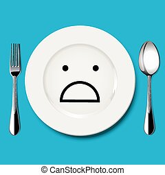 Vector of horror face draw on plate