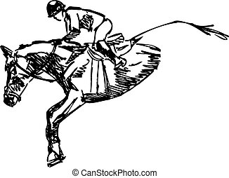 Vector of Horse and Rider Jumping