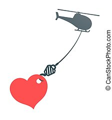 Vector of huge heart hanging from chopper - Vector...