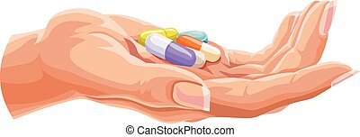 Vector of human hand with capsules.
