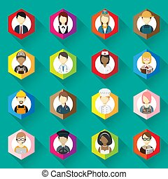 vector of icons for different man and woman occupation icon collection set. professions icons set. flat design. vector illustration