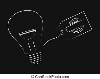 vector of idea lightbulb with copyspace tag