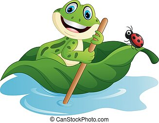 Vector of illustration Cartoon frog paddle leave