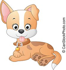 Cartoon funny dog lay down - Vector of illustration Cartoon...