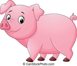 Cartoon happy pig isolated on white