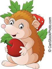 Cute baby hedgehog holding apple