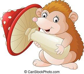Cute baby hedgehog holding mushroom