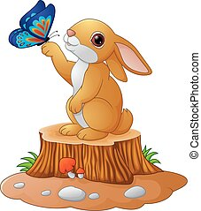 Cute bunny standing on tree stump - Vector of illustration...