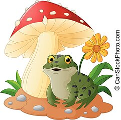 Cute frog with mushrooms