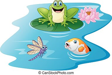 Cute green frog cartoon on a lily p
