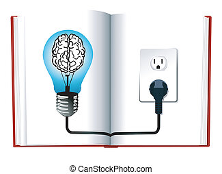 vector of Idea and knowledge concept design. Blue light bulb on open book