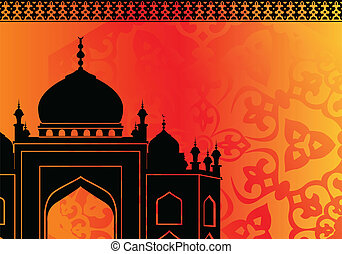 Islamic mosque on orange - Vector of Islamic mosque on...