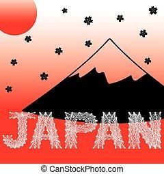 vector of Japan string art, Fuji mountain, sun, sakura