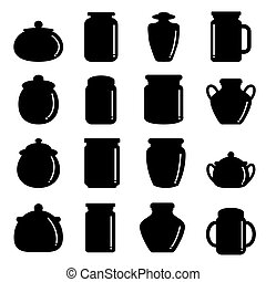 vector of jar icon set
