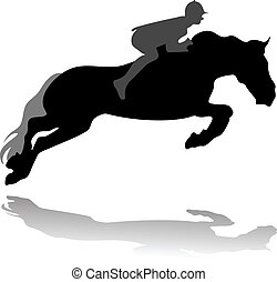 Vector of jockey with jumping horse