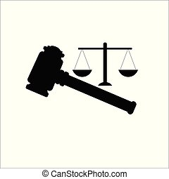 Vector of judge gavel, auction hammer with scales icon.