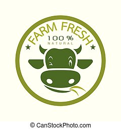 Vector of label with the head of a cow on a white background. Farm fresh. Logo Animal. Easy editable layered vector illustration.