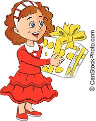 Vector of little girl holding giftbox.