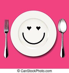 Vector of love face draw on plate