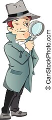 Vector of male detective looking through magnifying glass. -...
