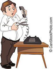 Vector of man cutting telephone cord.