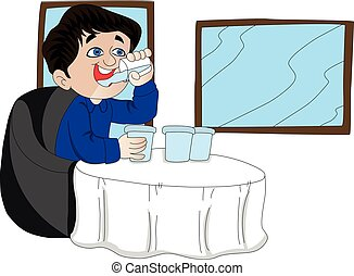 Vector of man drinking in restaurant.