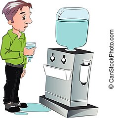 Vector of man drinking water from cooler.