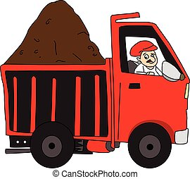 Vector of man driving truck loaded with mud. - Vector of man...