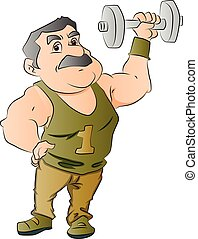 Vector of man lifting dumbbell.