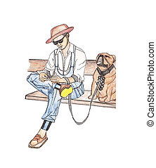 Vector of Man on Bench with Dog