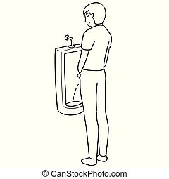 vector of man peeing