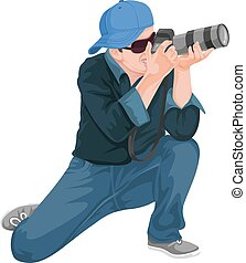 Vector of man photographing with slr camera.