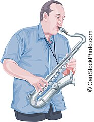 Vector of man playing saxophone.