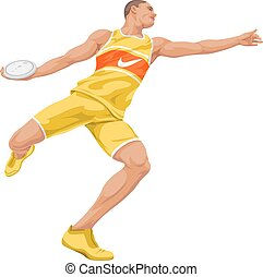 Vector of man preparing to throw discus. - Vector...