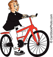 Vector of man riding bicycle.