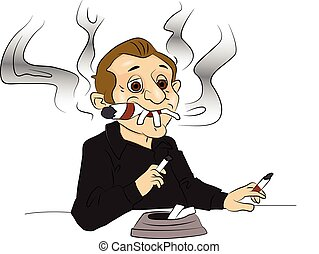 Vector illustration of man smoking cigarettes and citar, ash tray in foreground.