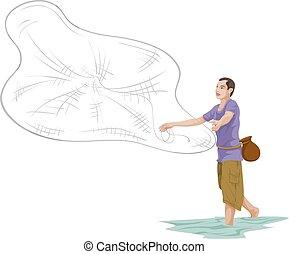 Vector of man throwing fishing net. - Vector illustration of...