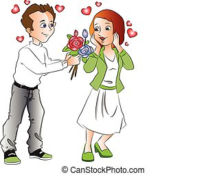 Vector of man with bouquet propses a girl.