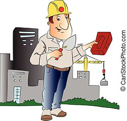 Vector of man with trowel and brick in front of a building.