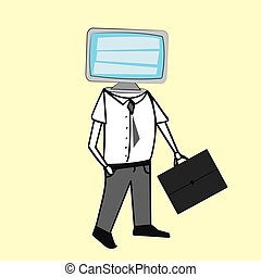 Vector of man with TV head