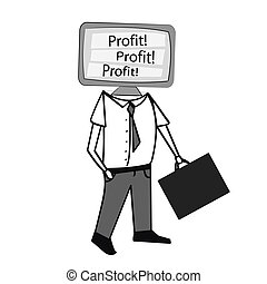 Vector of man with TV head , word profit on screen,