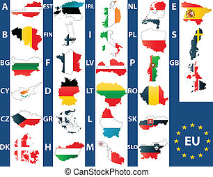 Vector of maps of the 27 members of the European Union with national maps.