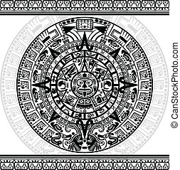 Mayan calendar - Vector of Mayan calendar on white...
