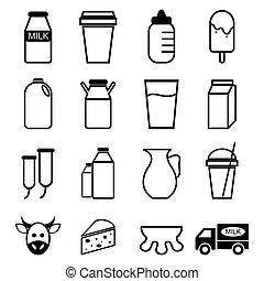 vector of Milk icon set