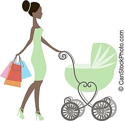 vector of modern mommy with vintage  baby carriage, online store, logo, silhouette, sale icon on white background, African American girl stores, black woman shopping