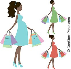 vector of modern pregnant mommy e, online store, logo, silhouette, sale icon on white background,