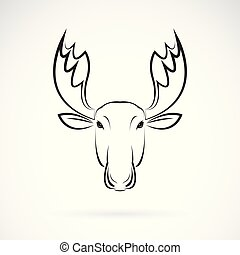 Vector of moose deer head design on white background., Wild Animals. Easy editable layered vector illustration.